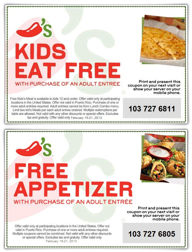 Kids eat free and more at Chilis coupon via The Coupons App
