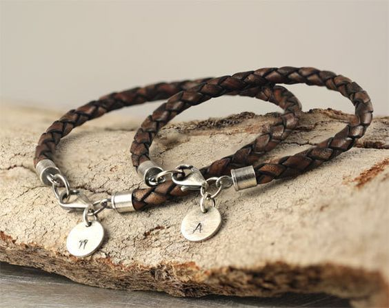 Personalized bracelets, hand stamped bracelet, two matching bracelets, his and her bracelets, leather bracelets, sterling silver bracelets