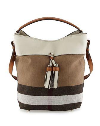 e54fa3e81ed7 Ashby Medium Grainy Canvas Check Bucket Bag