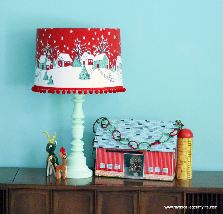 DIY Vintage Tablecloth Covered Christmas Lampshade | My So Called Crafty Life