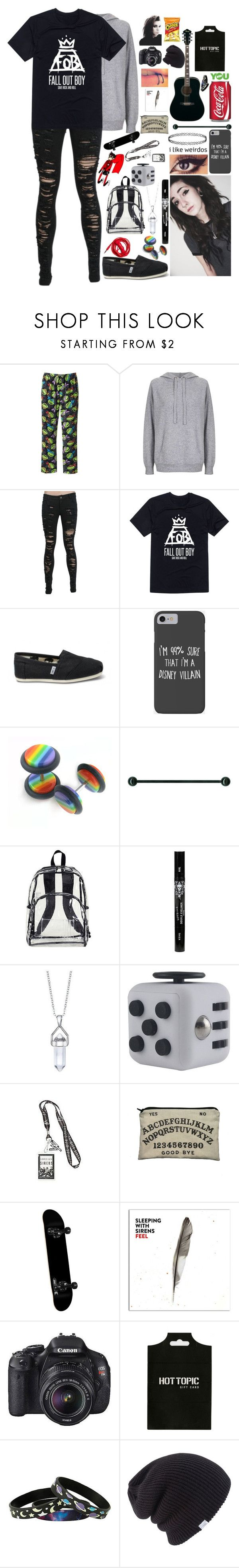 """""""Untitled #1465"""" by xxghostlygracexx ❤ liked on Polyvore featuring Topshop, TOMS, Disney, Urbanears, Eastsport, Eos, YOUNOW and Coal"""