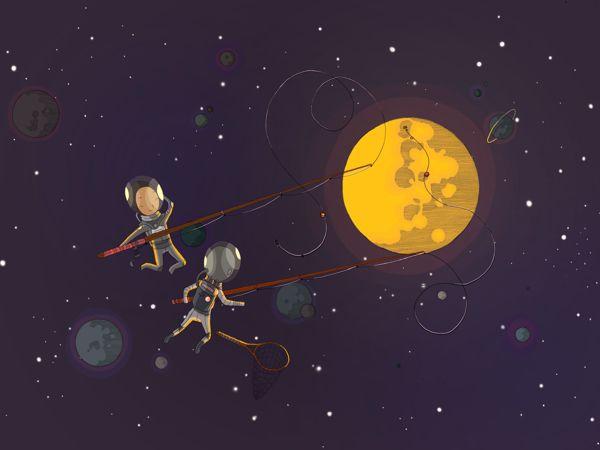Fishing - Spacemen by DRIEHOEK. Illustrated by Megan Bird