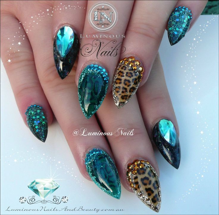 Snake Skin & Leopard Print...  Sculptured Acrylic with RDCorp Leopard Print & Snake Skin Nail Art, Young Nails Rainbow Black, Rainbow White, Turquoise, Indigo Miracle Collection 21, Black Collection 3, GlitterGasm Black fine chunky, Blue Crystals, Gold Studs.