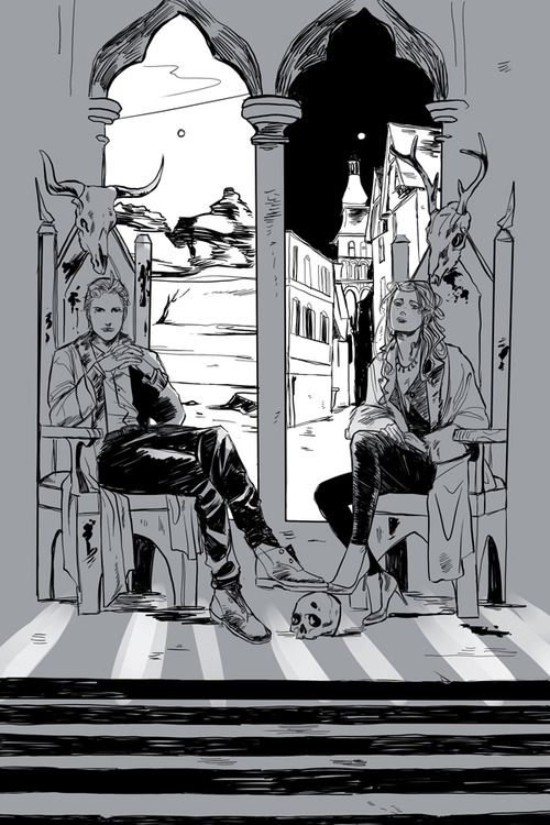 Spoiler art for City of heavenly fire - Sebastian and Clary. The windows behind them both look onto different scenes, but they are in the same room. (On Cassie's tumblr)