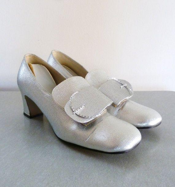 60 s Silber Mod Heels Weltraumzeitalter Pumpen Pilgrim Schnalle Schuhe Größe 7
