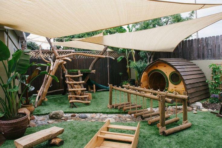 Kids Collective Preschool - Culver City, CA, United States. Natural playground. Little Hobbit House.