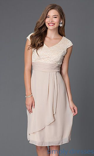Shop knee-length mother-of-the-bride dresses with lace cap sleeves at Simply Dresses. Short semi-formal dresses and empire-waist dresses.