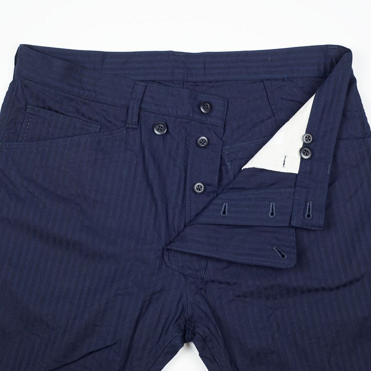 Slant fly work pants in navy shadow stripe stretch cotton   No Man Walks Alone