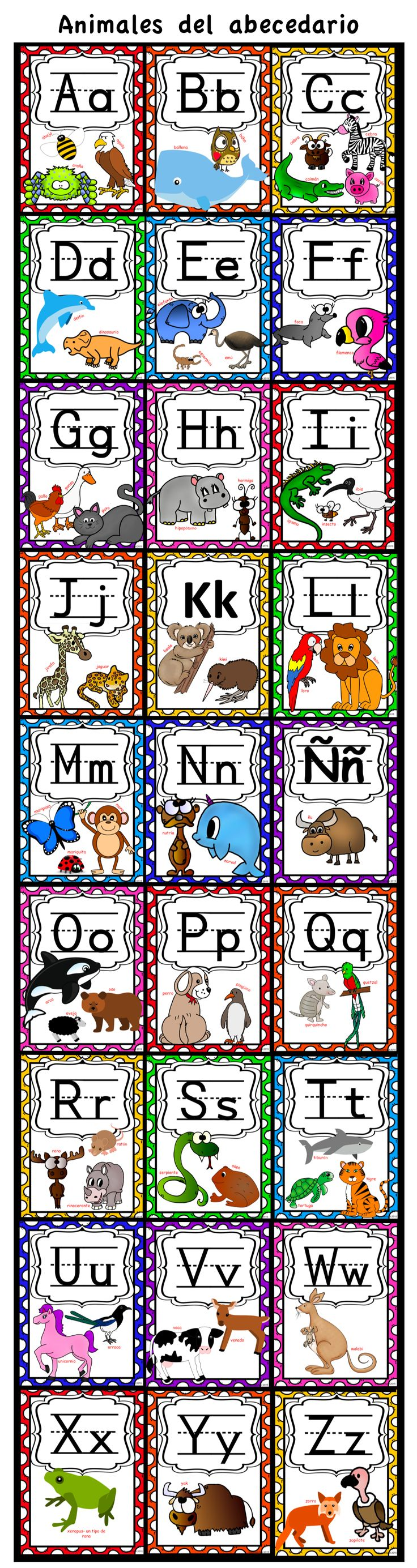 Spanish Alphabet Animals Posters on 8.5x11 #spanishalphabet