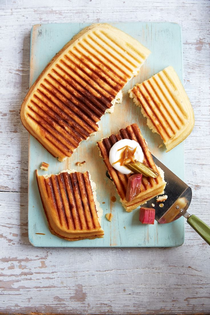 Griddle pan waffle with orange and rhubarb compote Photo credit: Malou Burger
