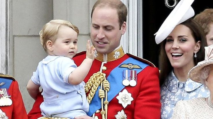 Prince George has joined members of the Royal Family on the balcony of Buckingham Palace for an RAF flypast to mark the Queen's official birthday.