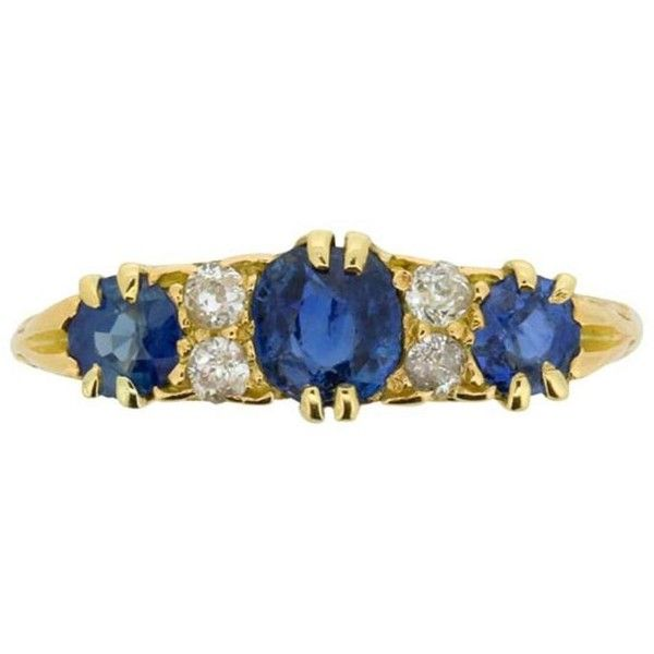 Preowned Late Victorian Sapphire And Diamond Ring, Circa 1900s ($1,864) ❤ liked on Polyvore featuring jewelry, rings, blue, engagement rings, antique engagement rings, sparkly engagement rings, victorian diamond ring, antique rings and pre owned engagement rings