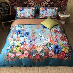 Elegant Girls Bright Colorful Flamingo and Tropical Flower Print Southwestern Style Real Egyptian Cotton Full, Queen Size Bedding Sets - EnjoyBedding.com