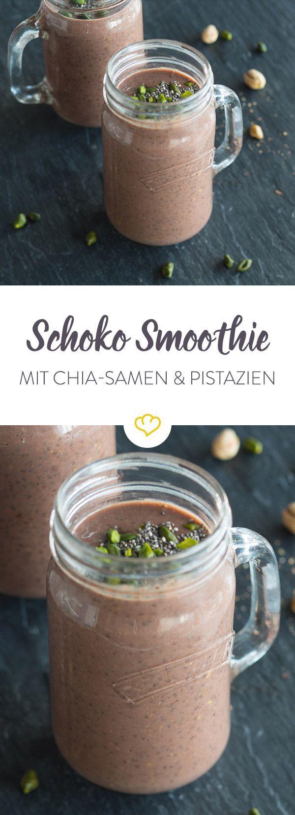 Schokoladen-Shake mit Chia-Samen und Pistazien
