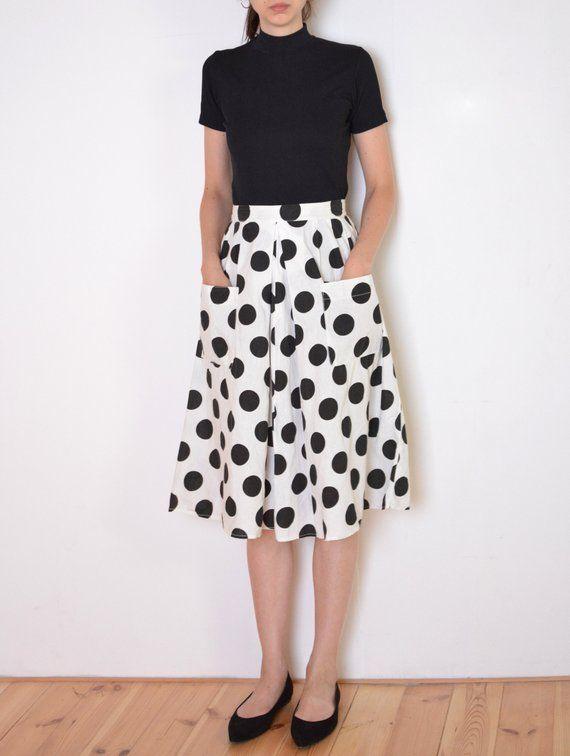 Vintage Polka Dot 90s Mini Skirt  High Waisted  Dalmatian Print