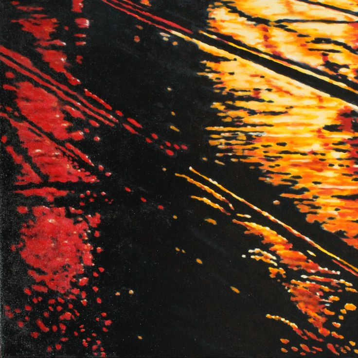 """Parallels IX - oil on canvas, 24 x 24"""" (60 x 60 cm) - rainy streets at night with streetcar tracks"""