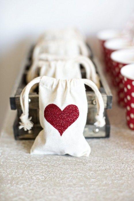 Easy DIY Glitter Heart Gift Bags for Valentine's Day