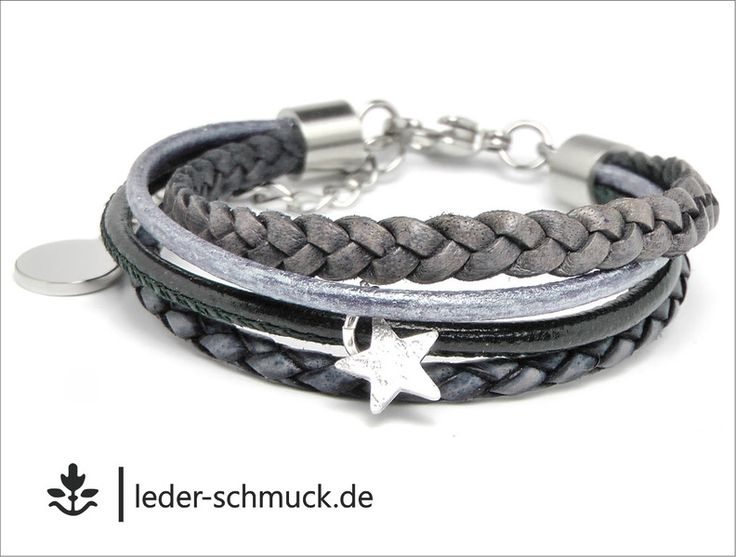Armbänder - Lederarmband Damen | STAR | dunkelblau - silber - ein Designerstück von LEDER-Schmuck bei DaWanda