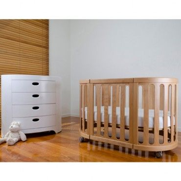 COCOON Nest 4 in 1 Cot with Mattress - Natural - transforms into bassinet, cot, bed, table and chairs