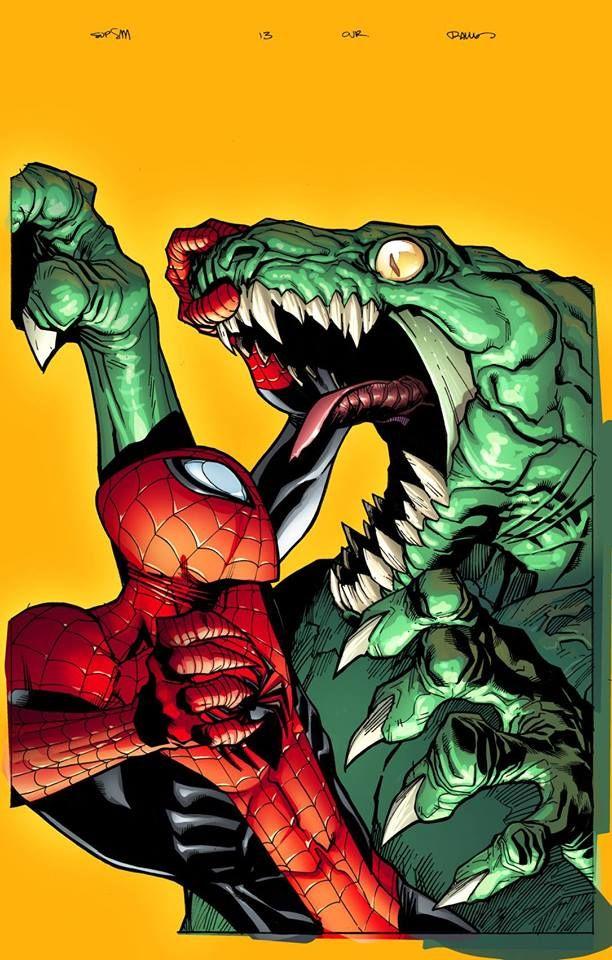 Spider-Man vs Killer Croc by Humberto Ramos