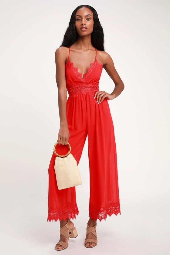 b3626cfd55de The Lulus Sunny Day Dream Red Lace Jumpsuit has us longing for sun