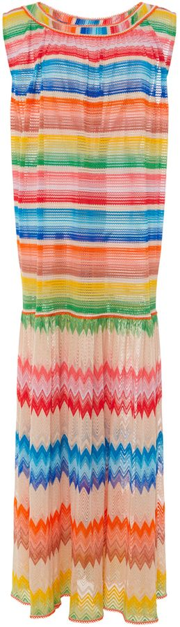 MISSONI RELAXED CREW NECK STRIPED BEACH DRESS