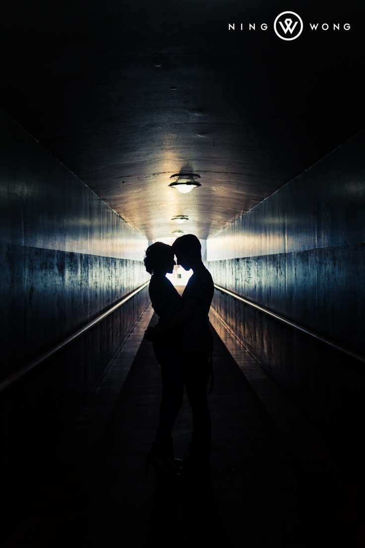 Engagement photo at Union Station in Downtown Los Angeles (Photo by www.ningwong.com)