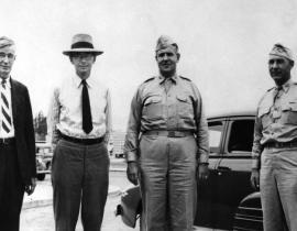The Hanford site selection team: Vannevar Bush, James B. Conant, General Leslie Groves and Colonel Franklin Matthias
