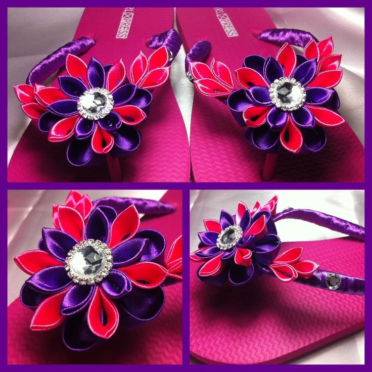Purple and pink kanzashi flowers on thongs flip flops.
