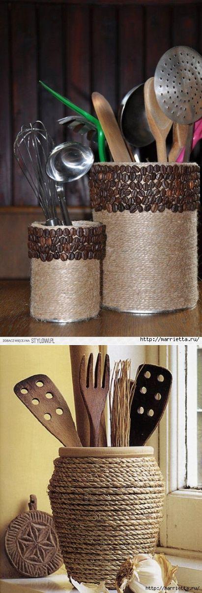 Цветочные вазочки из железных банок. Декорирование шпагатом
