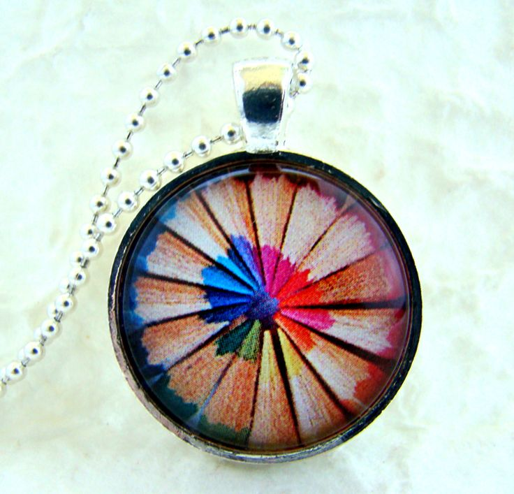 Rainbow | Arc-en-ciel | Arcobaleno | レインボー | Regenbogen | Радуга | Colours | Texture | Style | Form | Colored Pencils pendant necklace with by ExpressioneryPendant, $9.95