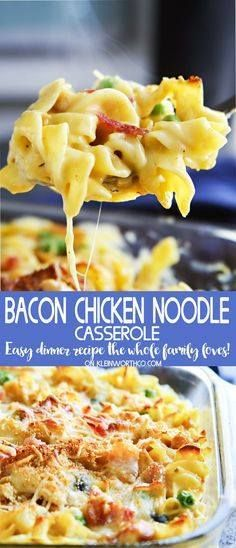 Easy family dinner i Easy family dinner ideas like Bacon Chicken...  Easy family dinner i Easy family dinner ideas like Bacon Chicken Noodle Casserole are a fantastic way to have comfort food fast. Delicious chicken recipes like this are always a favorite in our house! Dont miss my tip for making this super quick. Recipe : http://ift.tt/1hGiZgA And @ItsNutella  http://ift.tt/2v8iUYW