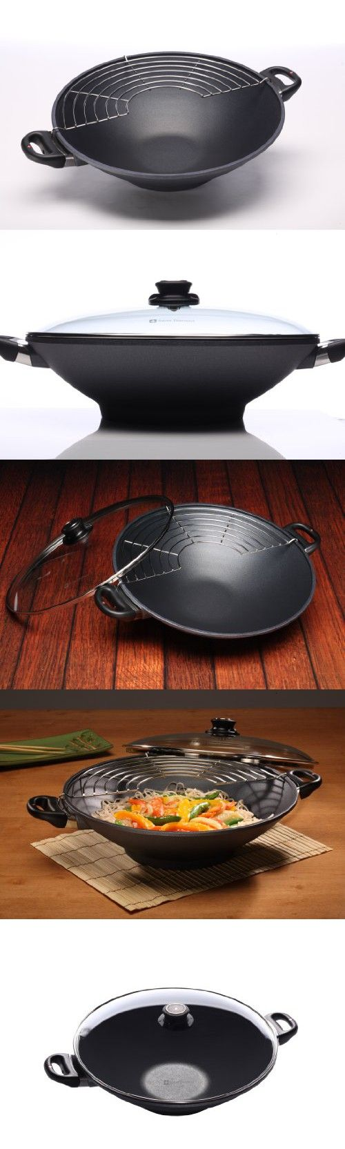 """Swiss Diamond Induction Nonstick Wok with Lid - 14"""""""