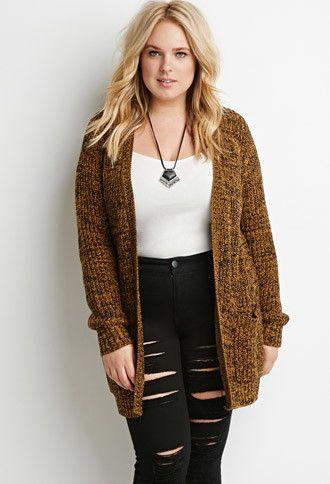 Plus Size Marled Rib Knit Cardigan | Forever 21 PLUS - 2000171948