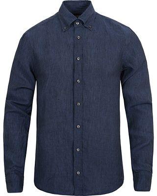 Oscar Jacobson Harry Slim Fit Button Down Shirt Blue