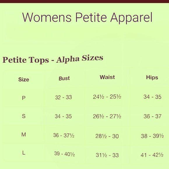 PETITE SIZE CHART P, S, M, & L size chart Other