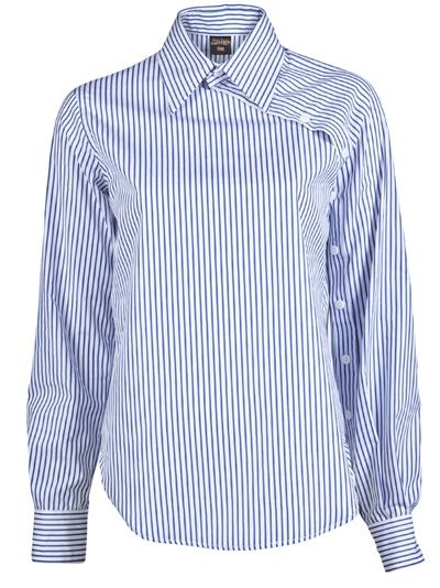Stripe button sleeve shirt in white and blue from Jean Paul Gaultier. This cotton long sleeve shirt features a collar, front slanted button down placket extending from collar to left cuff, and curved hem. Has back single box pleat and hanger loop.