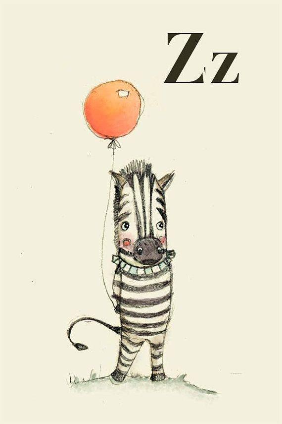 Paola Zakimi - Z for Zebra Alphabet animal,  Print 4x6 inches