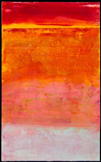 Gay Schy encaustic painting, Colvos Sunset