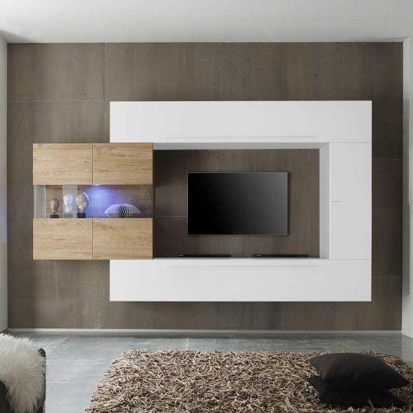 Wohnkombination Reddy In Weiss Hochglanz Eiche Wohnzimmerschranke Wohnzimmer Tv Wohnwand Modern