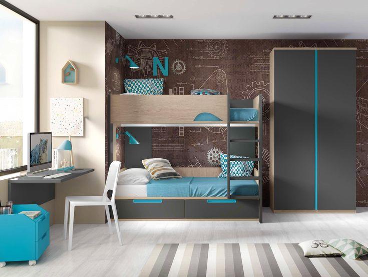 chambre ado lit superposé - GLICERIO - SONUIT #interiordesign #homedecor #chambreenfant #roomdecor #recette #chambre #design #moderne