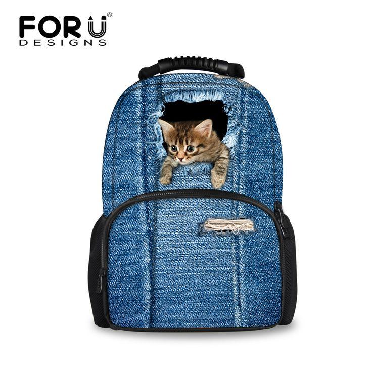 $40.99 (Buy here: https://alitems.com/g/1e8d114494ebda23ff8b16525dc3e8/?i=5&ulp=https%3A%2F%2Fwww.aliexpress.com%2Fitem%2FHot-Sale-Blue-Jeans-Printing-School-Bags-For-Boys-Girls-Little-Cat-Children-Schoolbag-Teenagers-Students%2F32687633871.html ) FORUDESIGNS Blue Jeans Denim Printing School Bags For Boys Girls Cute Animal Cat Backpack Women Schoolbag Kids Book Bag Mochila for just $40.99