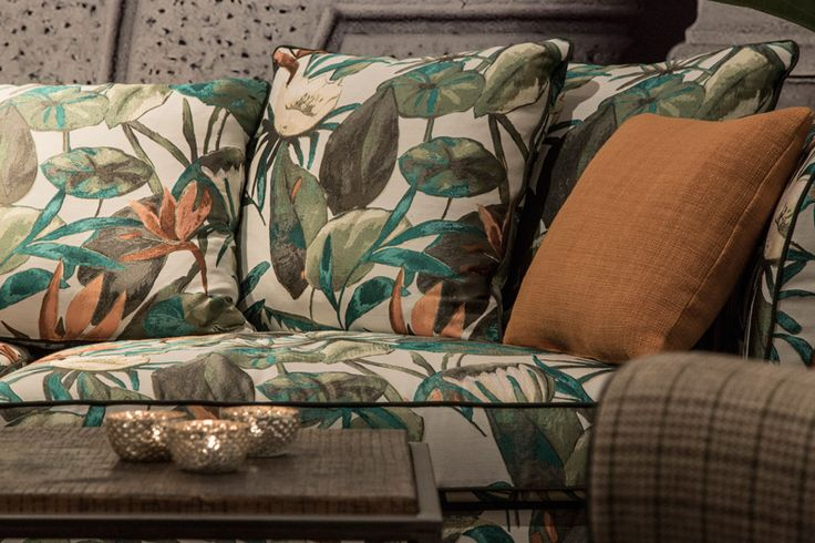 MORGANA #fabric by BROCHIER: a floral design #jacquard. Ideal for upholstery and curtains.
