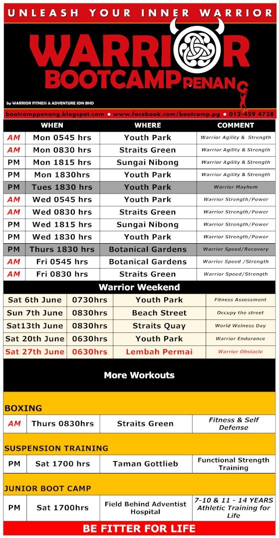 Warrior Bootcamp Penang Malaysia : Warrior Schedule 22 - 28 th June