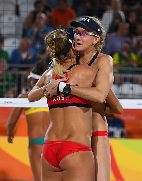 #RIO2016 Best of Day 1 - April Ross and Kerri Walsh Jennings of the United States victory after the Women's Beach Volleyball preliminary round Pool C match against Mariafe...