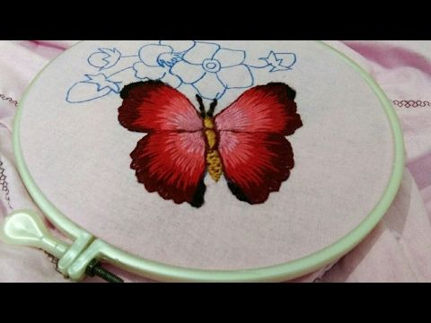 Hand embroidery beautiful butterfly with long and short stitch - YouTube