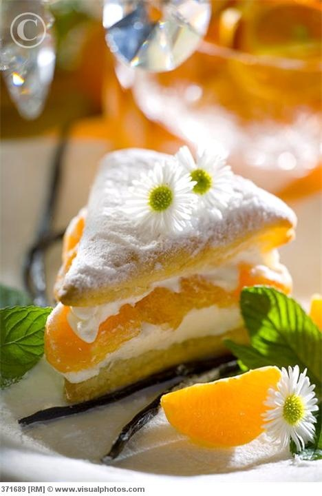 Napoleon Slice with Vanilla Cream & Tangerine