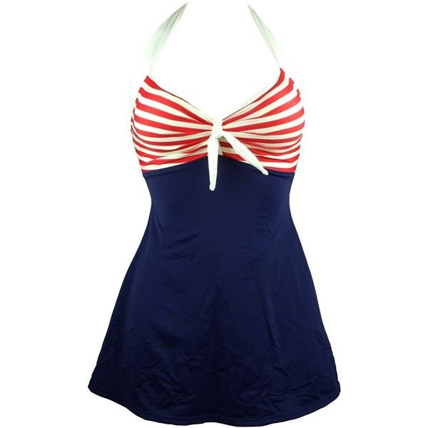Cocoship Vintage Sailor Pin Up Swimsuit One Piece Skirtini Cover Up... (1,380 PHP) ❤ liked on Polyvore featuring swimwear, one-piece swimsuits, pin up swimsuit, vintage one piece swimsuit, vintage pin up swimsuits, swim cover up dress and 1 piece bathing suits