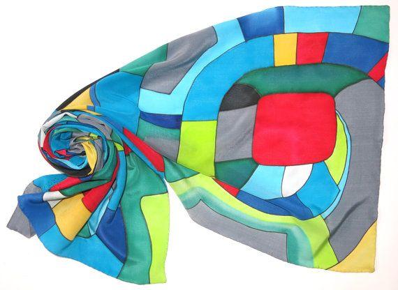 Silver Spiral silk scarf. Hundertwasser scarf Hand by SilkMood