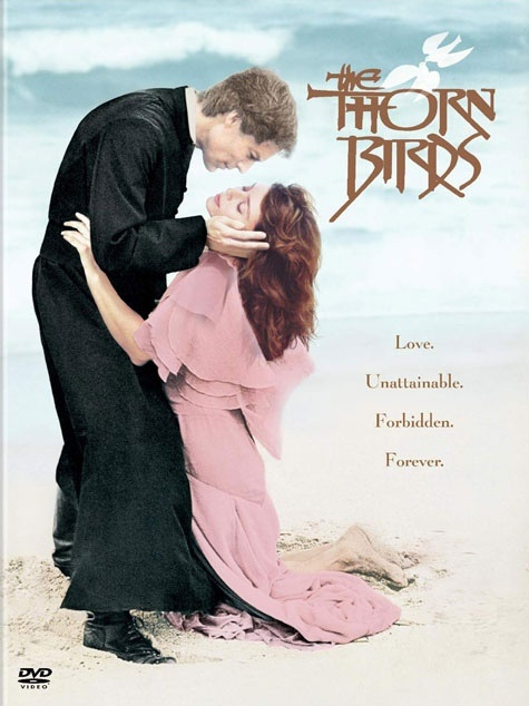 The Thorn Birds - 1983 -Produced by David L. Wolper.  From the Novel by Colleen McCullough written in 1977.   Steamy drama with Richard Chamberlain, Rachel Ward, Barbara Stanwyck and full supporting cast. Story line in the outbacks of Australia   on a sheep farm with the Cleary Family. Chamberlain playing Father de Bricassart.  I have watched this many, many times, just love it.